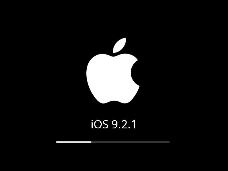Лого Apple при обновлении iOS 9.2.1
