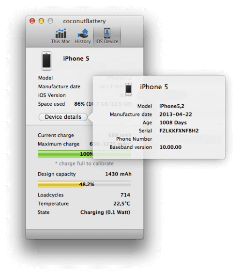 """Проверка iPhone coconutBattery раздел """"Детали"""""""