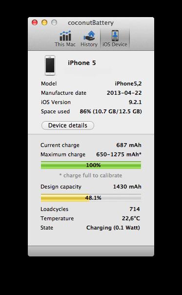 Проверка батареи coconutBattery