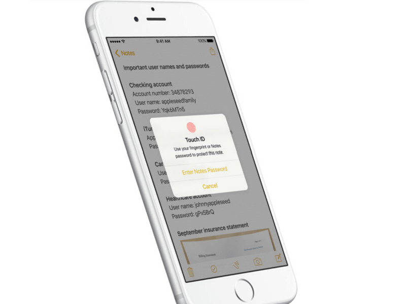 Приложение Заметки в iOS 9.3