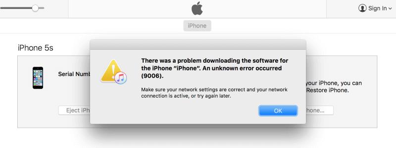 Ошибка 9006 при обновлении iPhone