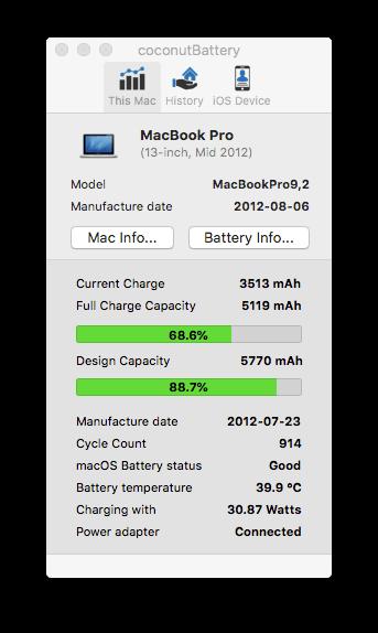 где посмотреть количество циклов разрядки зарядки macbook