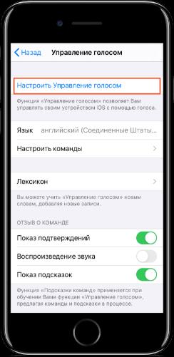 управление голосом айфон 7